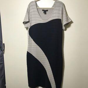 Ashley Stewart 22/24 Black and Tan slimming dress